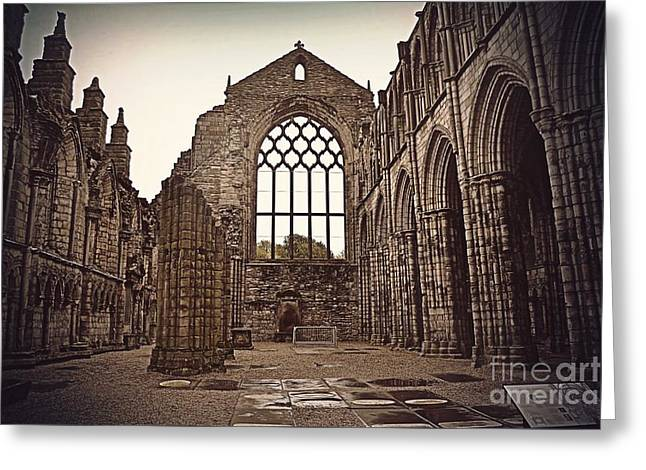 Tour Pyrography Greeting Cards - Holyrood Abbey Greeting Card by Miryam  UrZa