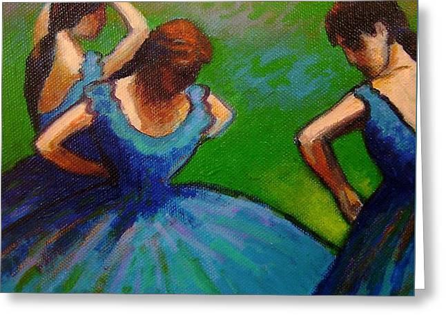Vibrant Green Greeting Cards - Homage to Degas II Greeting Card by John  Nolan