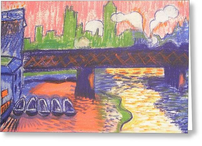 London Pastels Greeting Cards - Homage To Derain Westminster Bridge 1906 Greeting Card by Michelle Deyna-Hayward