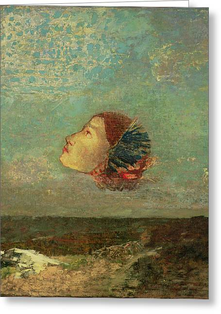 Head Greeting Cards - Homage To Goya, C.1895 Oil On Card Mounted On Canvas Greeting Card by Odilon Redon