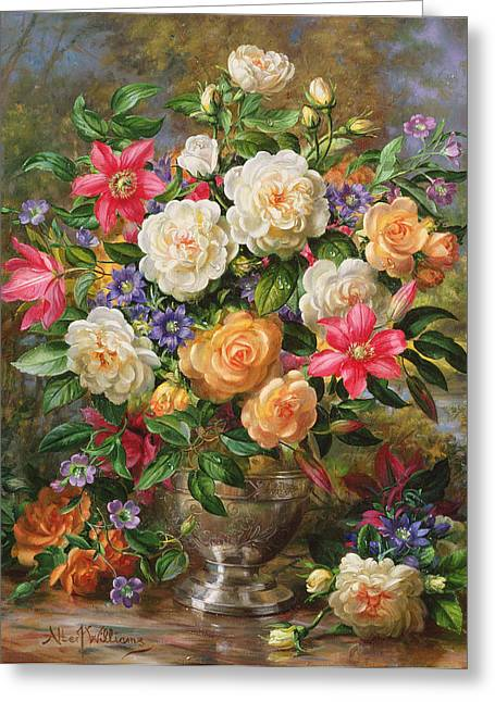 Still-life With Flowers Greeting Cards - Homage To Her Majesty The Late Queen Elizabeth The Queen Mother Oil On Canvas Greeting Card by Albert Williams