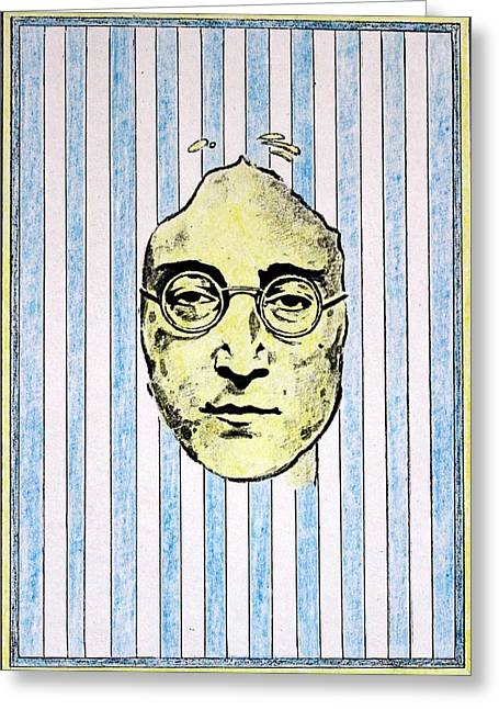 Lennon Mixed Media Greeting Cards - Homage To John Lennon  Greeting Card by John  Nolan
