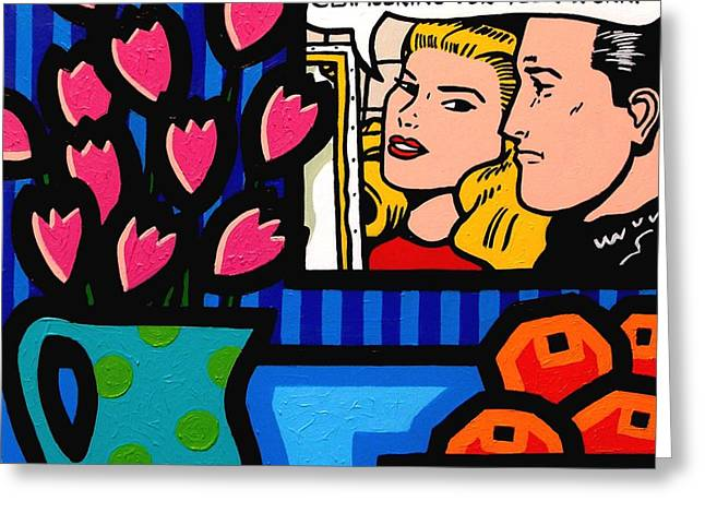 Portraits Greeting Cards Greeting Cards - Homage To Lichtenstein Greeting Card by John  Nolan