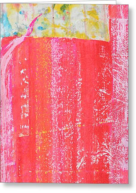Vertical Red Abstract Art On Canvas Greeting Cards - Homage to Old Paint Rags Greeting Card by Asha Carolyn Young