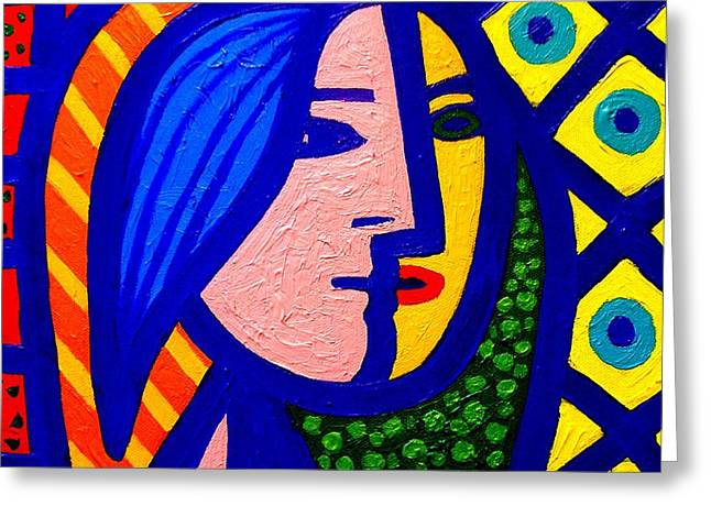 Wine-glass Greeting Cards - Homage To Pablo Picasso Greeting Card by John  Nolan