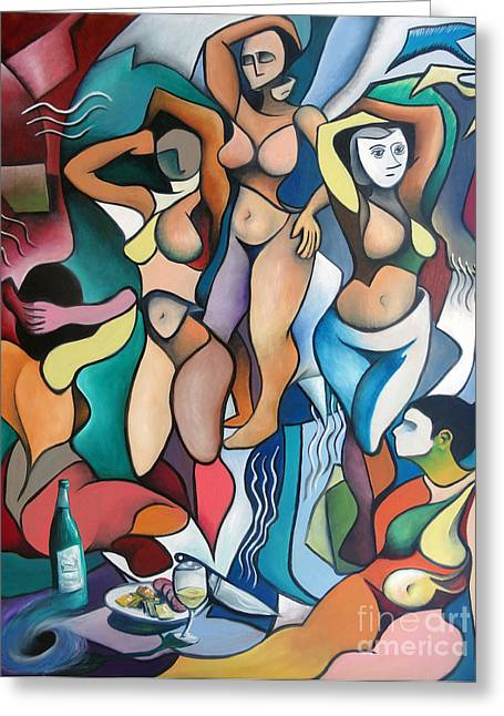 Demoiselles Greeting Cards - Homage to Picassos Les Demoiselles dAvignon Greeting Card by Jeffrey Williams