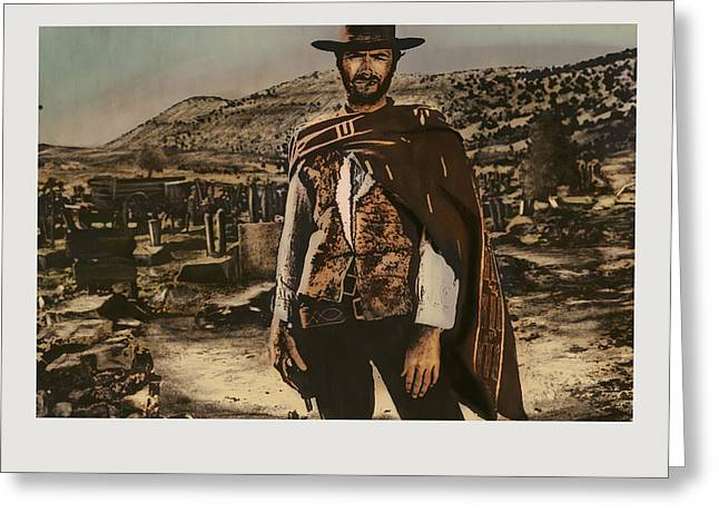 Sergio Leone Greeting Cards - Homage to The Good Greeting Card by Aaron McElfish