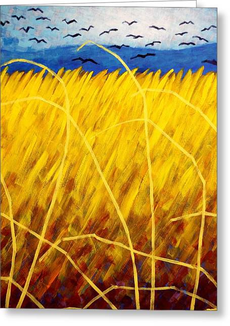 Canvas Crows Greeting Cards - Homage To Van Gogh   cropped Greeting Card by John  Nolan