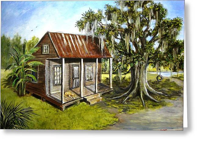 Hunting Camp Greeting Cards - Home Alone Greeting Card by Nancy Cason