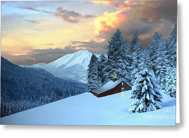 Mountain Cabin Greeting Cards - Home and Hearth Greeting Card by Corey Ford