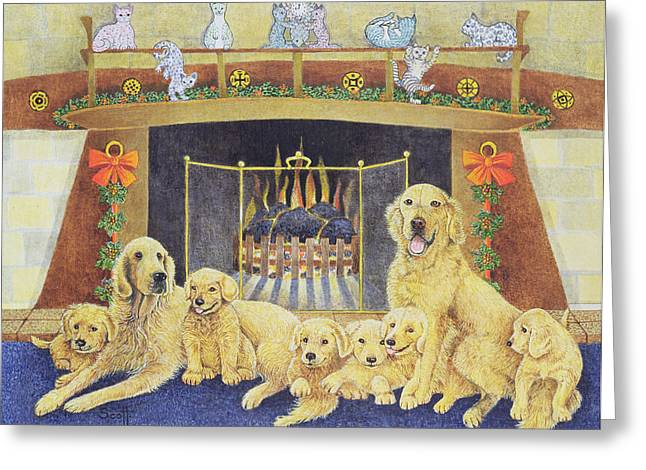 Golden Greeting Cards - Home And Hearth Greeting Card by Pat Scott