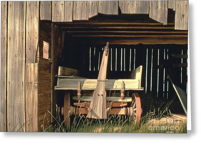 Wooden Wagons Paintings Greeting Cards - Home at Last _ SOLD Greeting Card by Michael Swanson