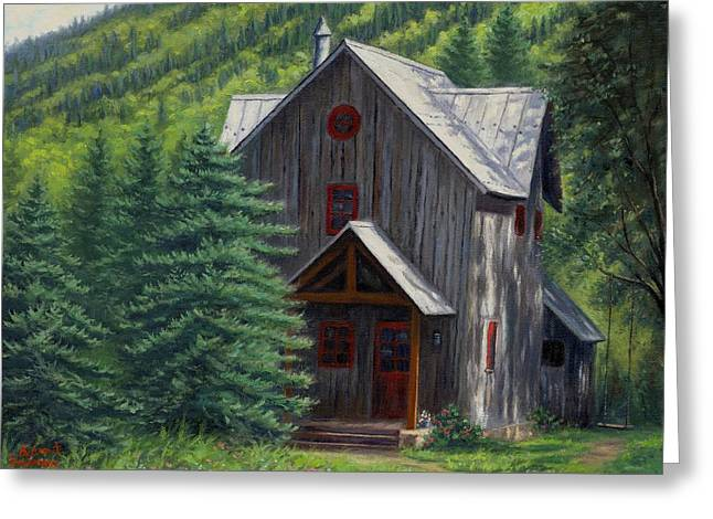 Cabin Window Greeting Cards - Home Away From Home Greeting Card by Asa Gochenour