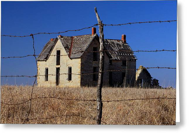 Sante Fe Trail Greeting Cards - Home Behind the Barbed Wire Greeting Card by Christopher McKenzie