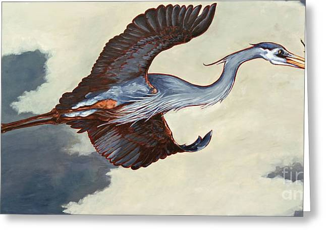Home Bound Heron Greeting Card by Eve McCauley