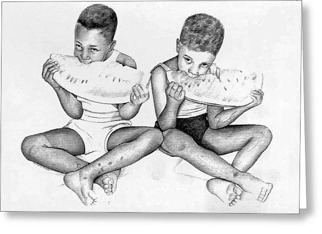 Watermelon Drawings Greeting Cards - Home Boys Too Greeting Card by Ron Watson