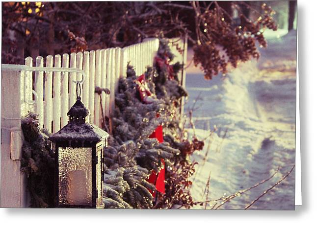 New England Snow Scene Greeting Cards - Home For Christmas Greeting Card by Brighton Luke