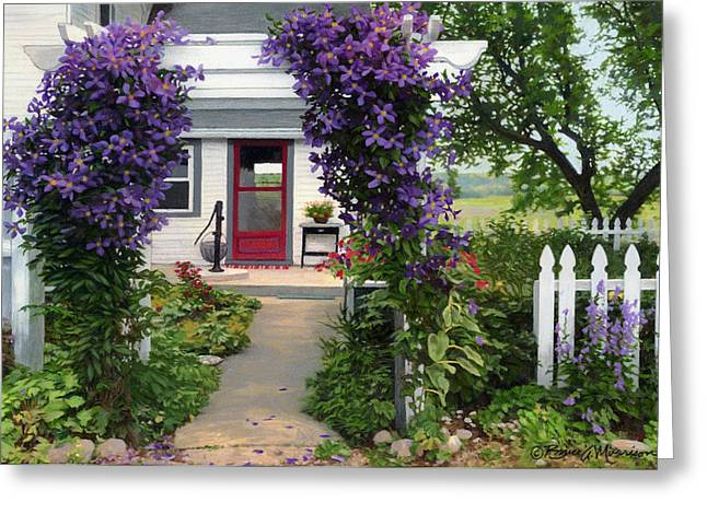 Country Cottage Drawings Greeting Cards - Home Greeting Card by Bruce Morrison