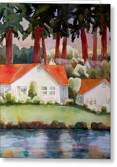 Dwelling Greeting Cards - Home by the Lake Greeting Card by Blenda Studio