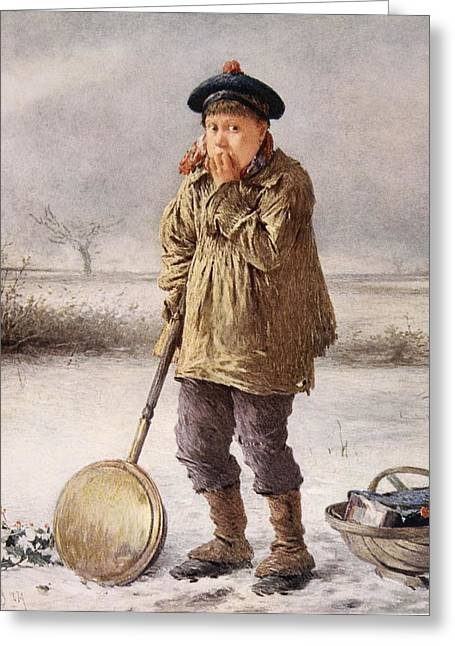 Snow-coated Greeting Cards - Home Comforts, 1874 Greeting Card by Henry Benjamin Roberts