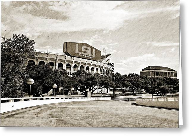 Louisiana State University Greeting Cards - Home Field Advantage Greeting Card by Scott Pellegrin