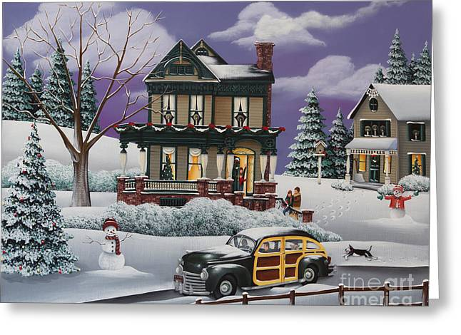 Primitive Greeting Cards - Home for the Holidays 2 Greeting Card by Catherine Holman