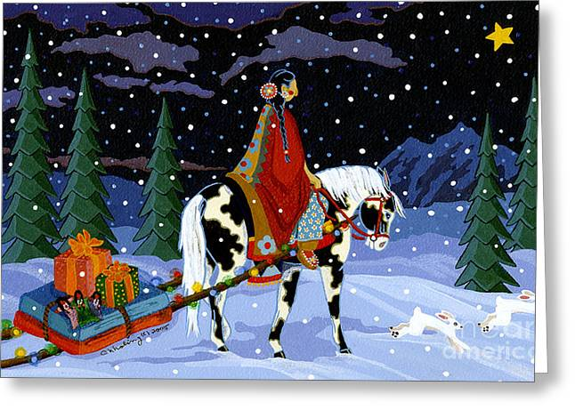 Native American Woman Greeting Cards - Home for the Holidays Greeting Card by Chholing Taha