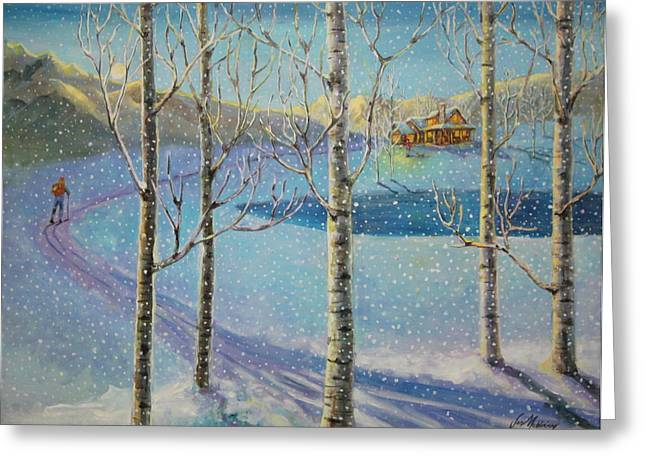 Dog In Snow Greeting Cards - Home for the Holidays Greeting Card by Jan Mecklenburg