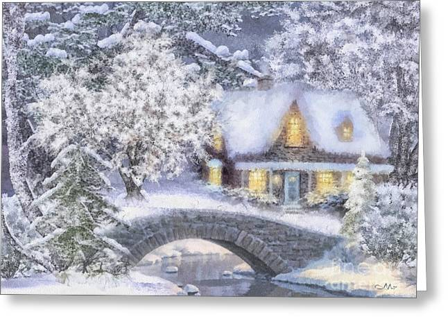Beautiful Scenery Greeting Cards - Home for the Holidays Greeting Card by Mo T