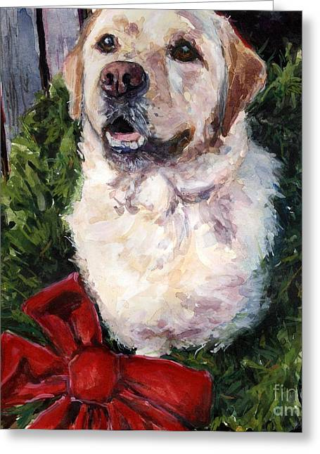 Yellow Labrador Retriever Greeting Cards - Home for the Holidays Greeting Card by Molly Poole