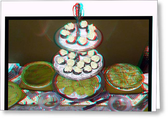 Plate Of Cookies Greeting Cards - Home For The Holidays - Use Red-Cyan 3D Glasses Greeting Card by Brian Wallace