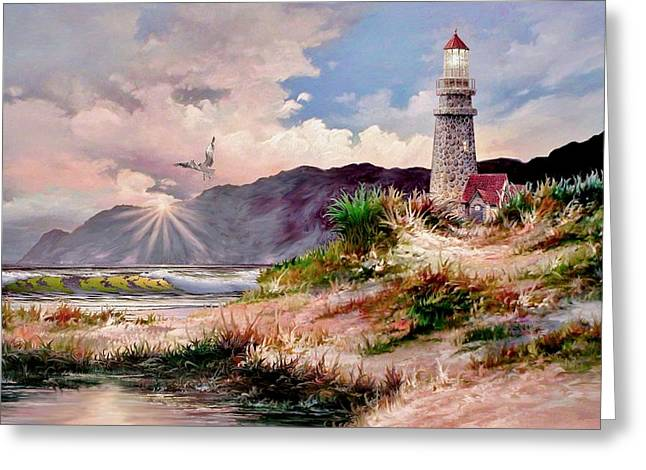 Nubble Lighthouse Paintings Greeting Cards - Home for the Night Greeting Card by Ronald Chambers