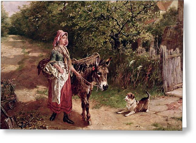 Spade Greeting Cards - Home from Market Greeting Card by Edgar Bundy