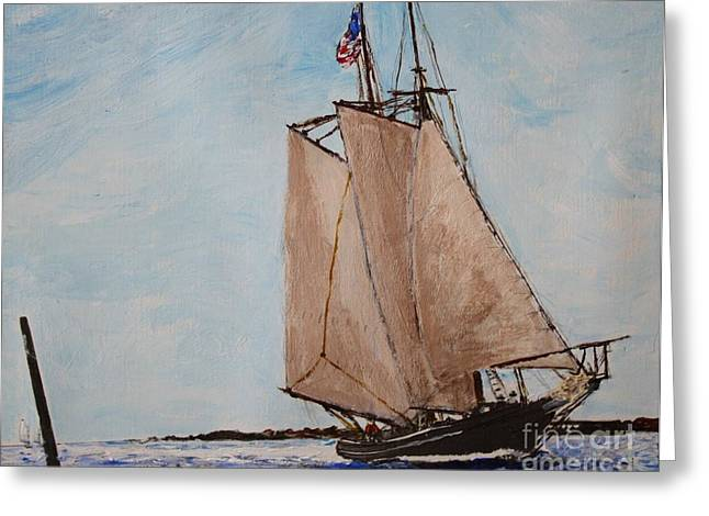 Schooner Greeting Cards - Home from the Banks Greeting Card by Bill Hubbard