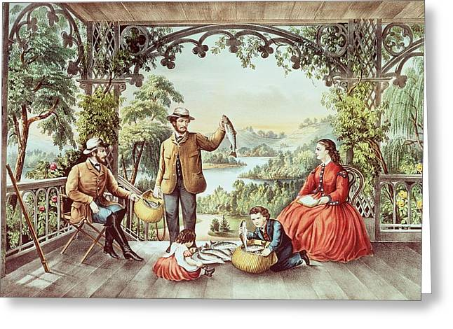 Landscape Drawings Greeting Cards - Home from the Brook The Lucky Fisherman Greeting Card by Currier and Ives