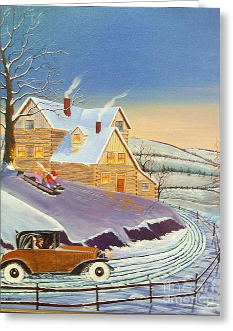 Sled.fence Greeting Cards - Home From The City Greeting Card by Seth Wade