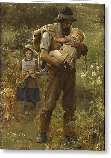 Old Masters Greeting Cards - Home From The Fields Greeting Card by Arthur Hacker