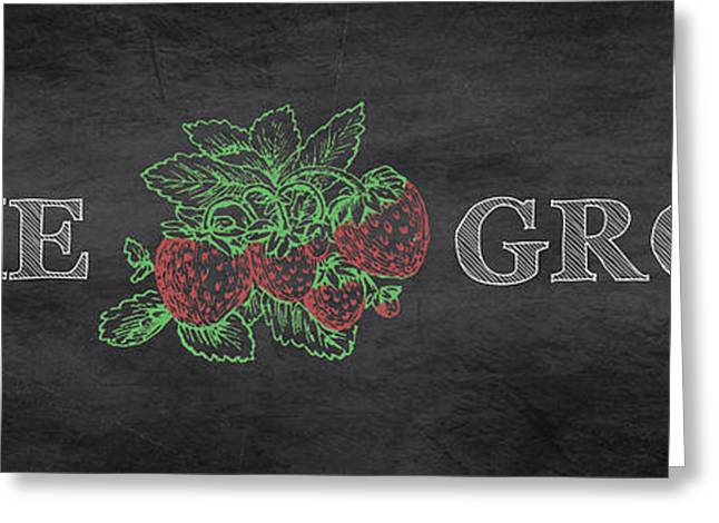 Strawberry Art Greeting Cards - Home Grown on Blackboard Greeting Card by Jean Plout