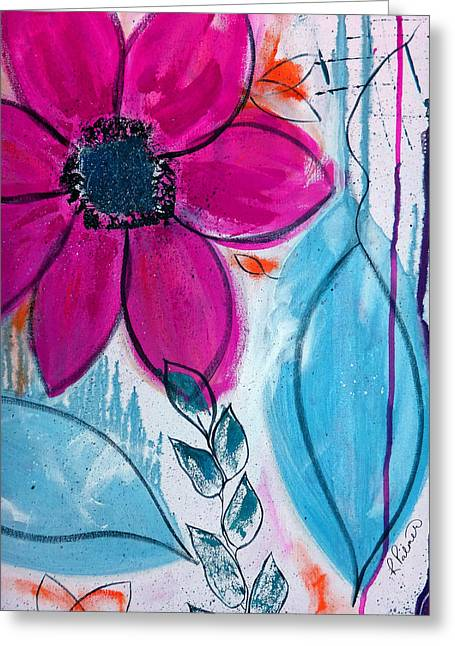 Grey Turquoise Greeting Cards - Home Grown Greeting Card by Ruth Palmer