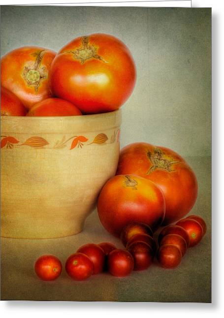 Home Grown Greeting Cards - Home Grown Tomatoes Greeting Card by David and Carol Kelly