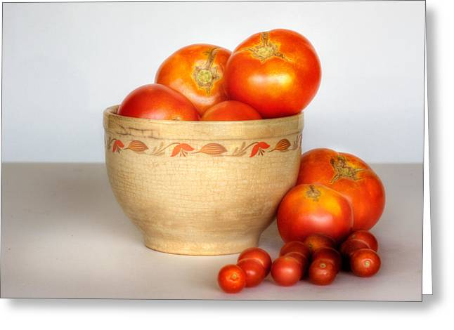 Home Grown Greeting Cards - Home Grown Tomatoes II Greeting Card by David and Carol Kelly