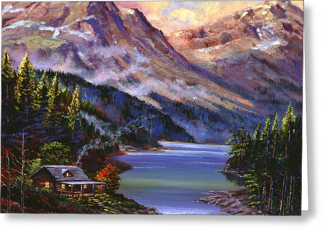 Home In The Mountains Greeting Card by David Lloyd Glover