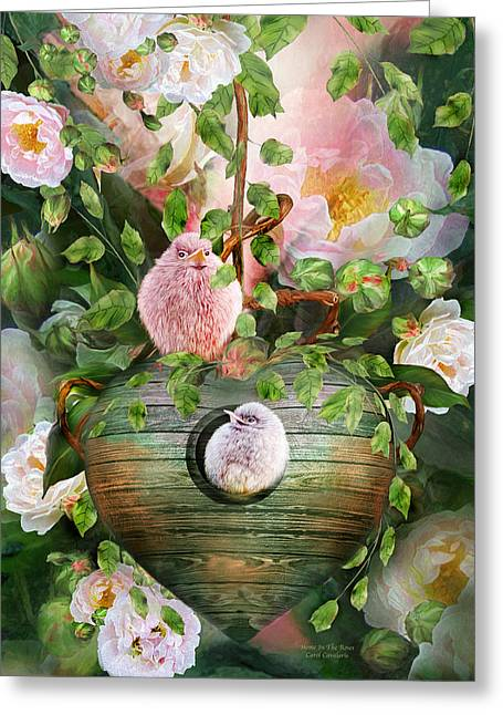 Baby Bird Greeting Cards - Home In The Roses Greeting Card by Carol Cavalaris