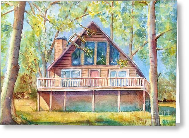 Log Cabins Greeting Cards - Home in the woods Greeting Card by Patricia Pushaw