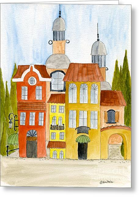 City Buildings Drawings Greeting Cards - Home is where the heart is Greeting Card by Eva Ason