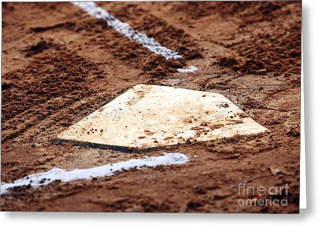 Baseball Art Greeting Cards - Home is Where the Heart Is Greeting Card by John Rizzuto