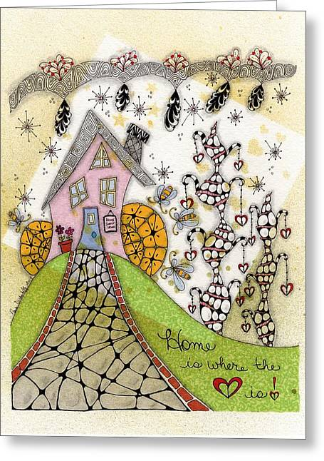 Home Is Where The Heart Is Greeting Card by Paula Dickerhoff