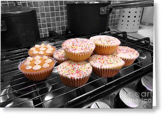 Hob Greeting Cards - Home made cakes on the oven Greeting Card by Simon Bratt Photography LRPS