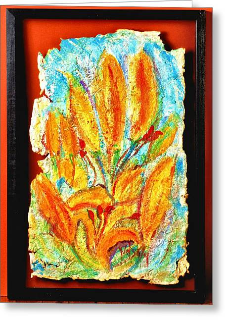 Rustic Tapestries - Textiles Greeting Cards - Home Made Paper Yellow Orange Flowers Greeting Card by Martha Nelson