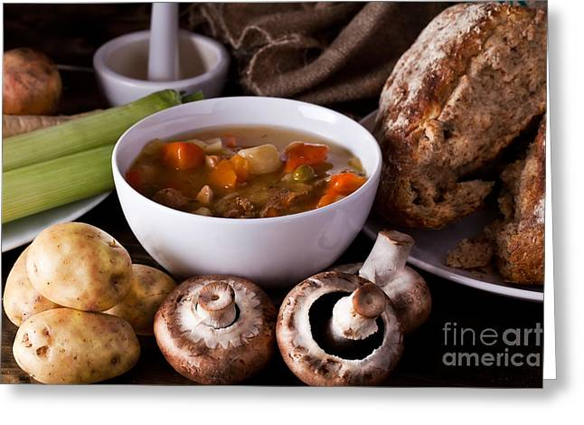 Wooden Bowl Greeting Cards - Home made soup and bread Greeting Card by Simon Bratt Photography LRPS